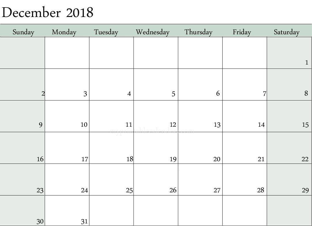 Blank Calendar December 2018 Editable | December 2018-Calendar Monday To Sunday Monthly