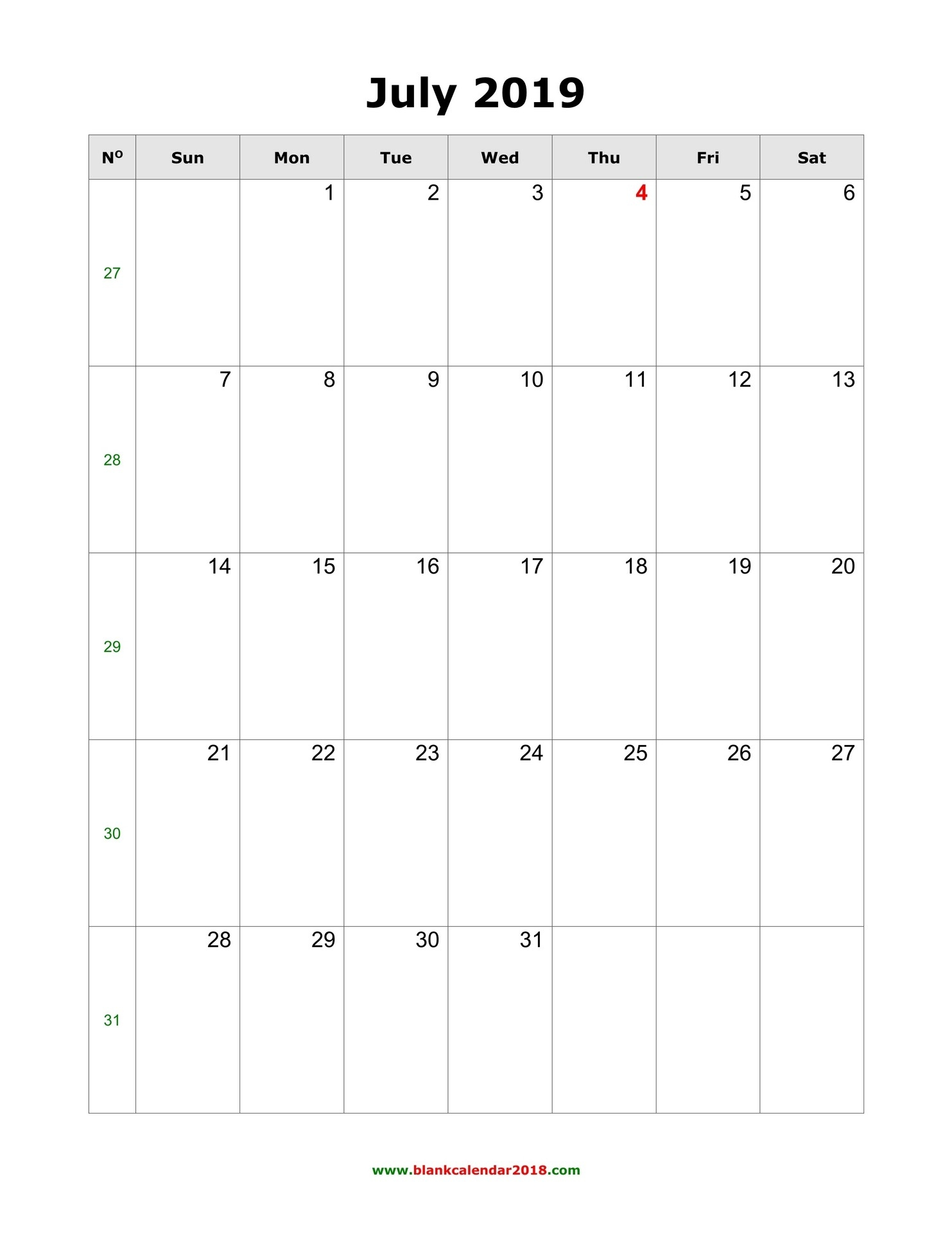 Blank Calendar For July 2019-Fill In The Blank July 2919 Calendar