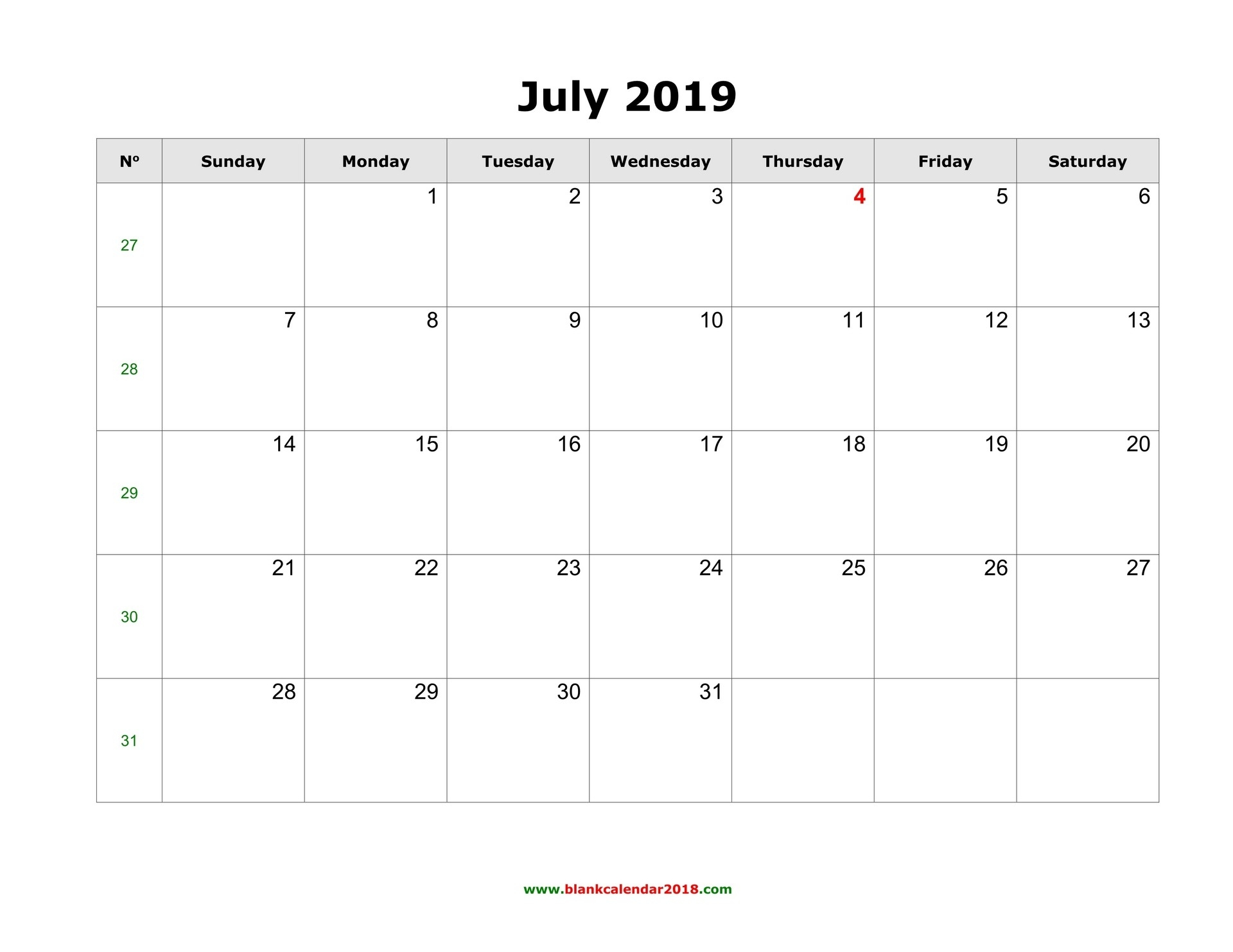 Blank Calendar For July 2019-Fill In The Blank July 2919 Calendar