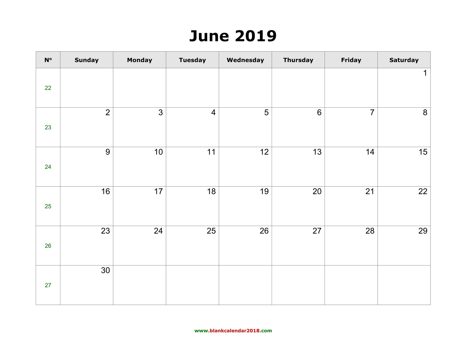 Blank Calendar For June 2019-Printable Blank Calendars June July August