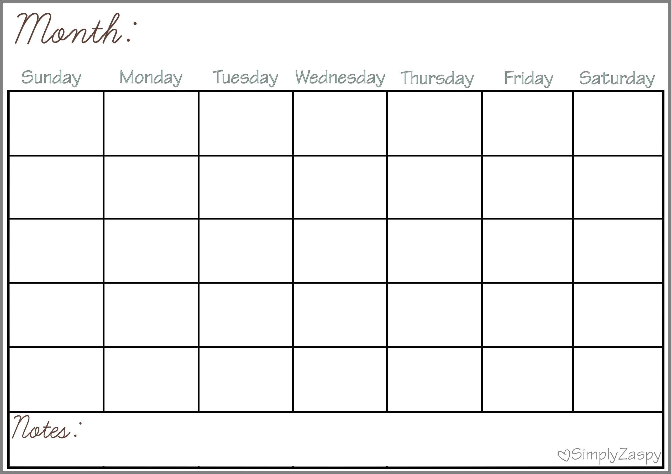 Blank Calendar Grid Printable   Calendar Template Printable-Printable Blank Calendar Grid