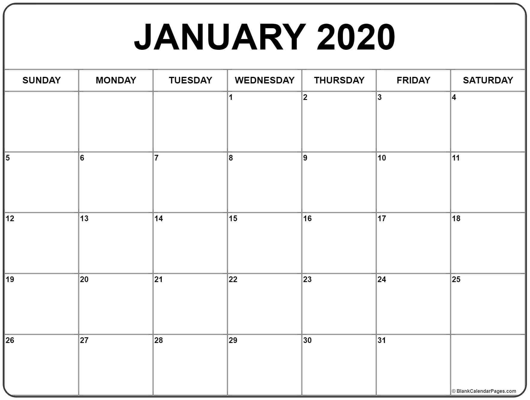 Blank Calendar Jan 2020 Printable | Isacl-January 2020 Calendar Waterproof