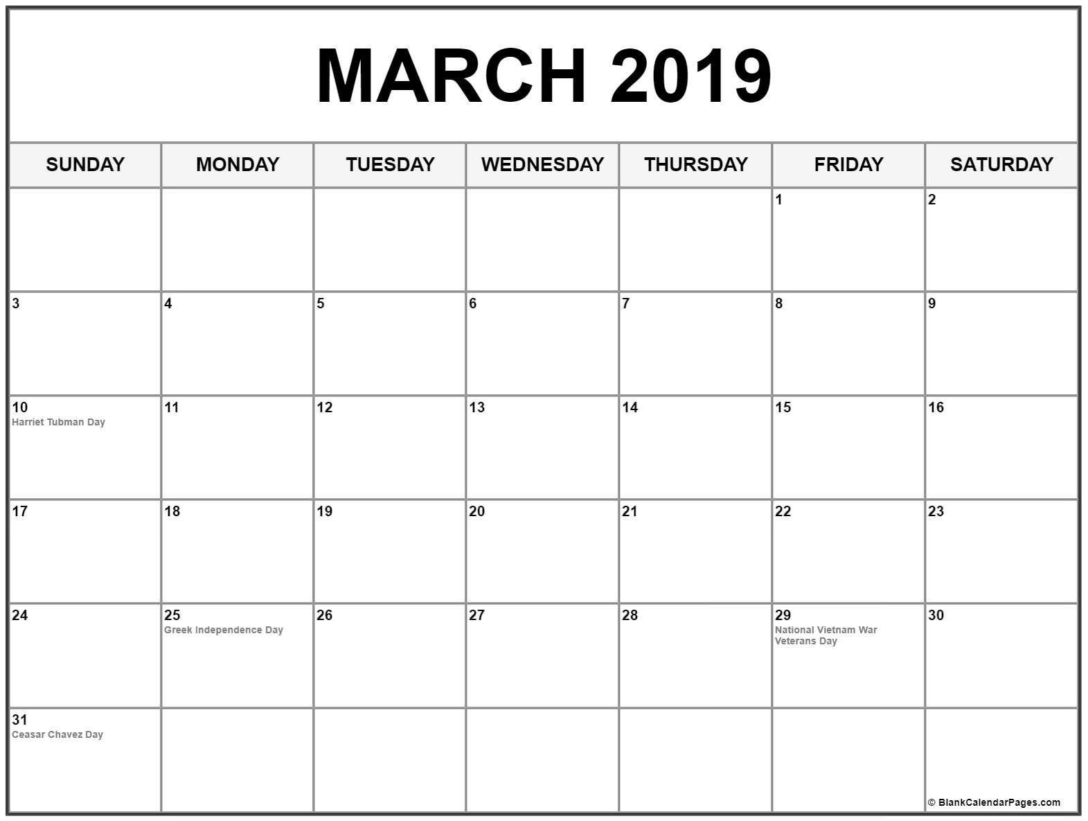 Blank Calendar March 2019 Printable   250+ March 2019-Us Printable Blank Calendars