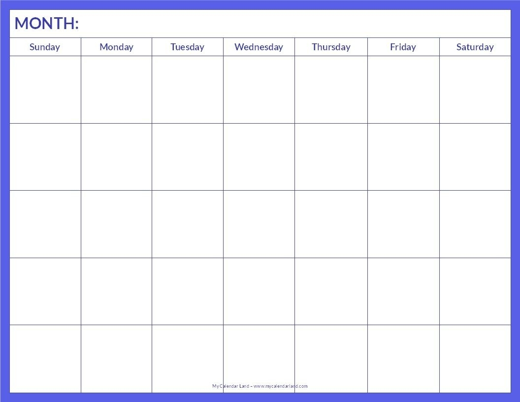 Blank Calendar Printable My Calendar Land | Words To Live By-Blank Calendar Page Monday To Friday