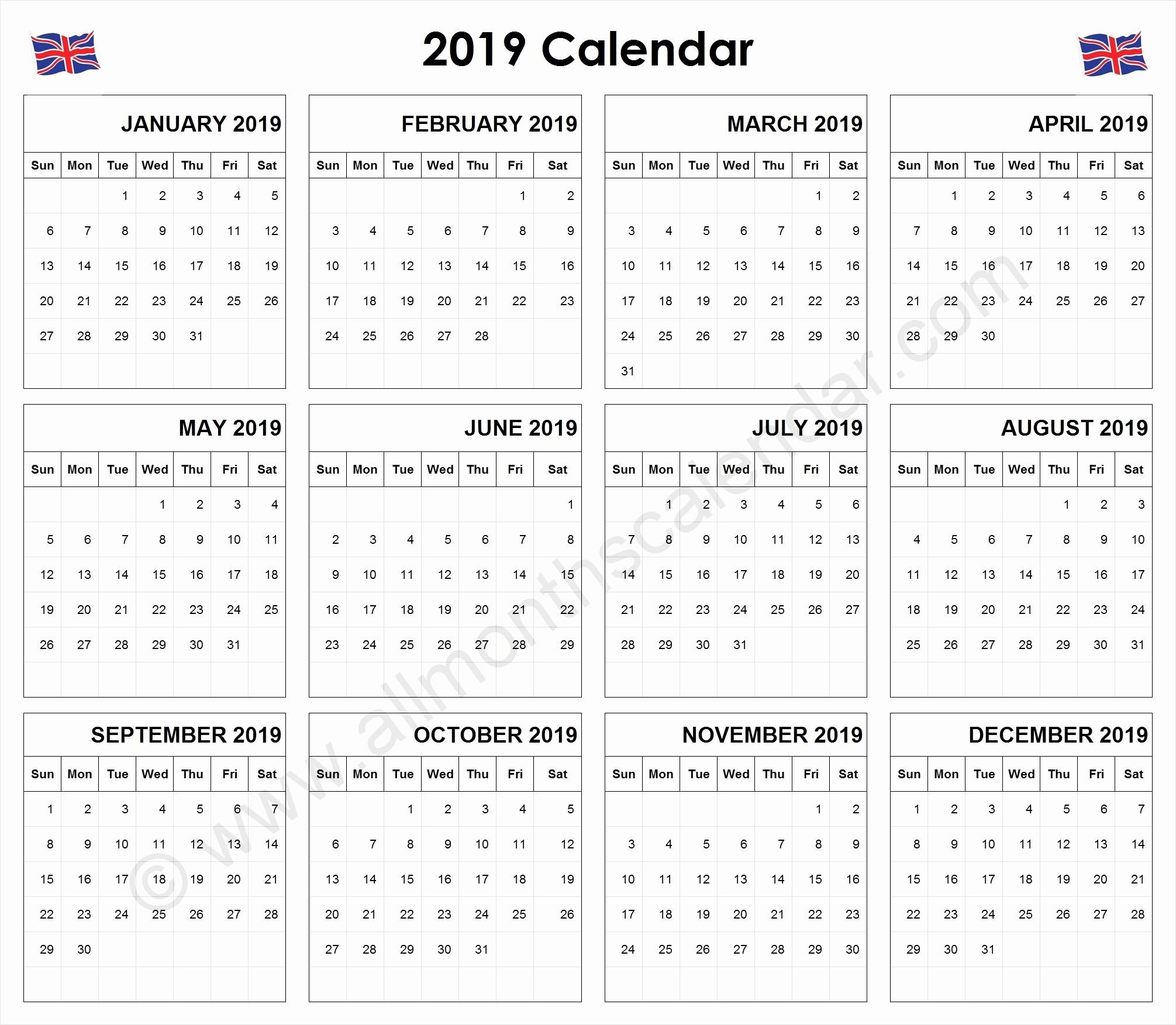Blank Calendar Template 2019 Uk Yearly 2019 Calendar Uk 12-Blank Month Caledar Uk