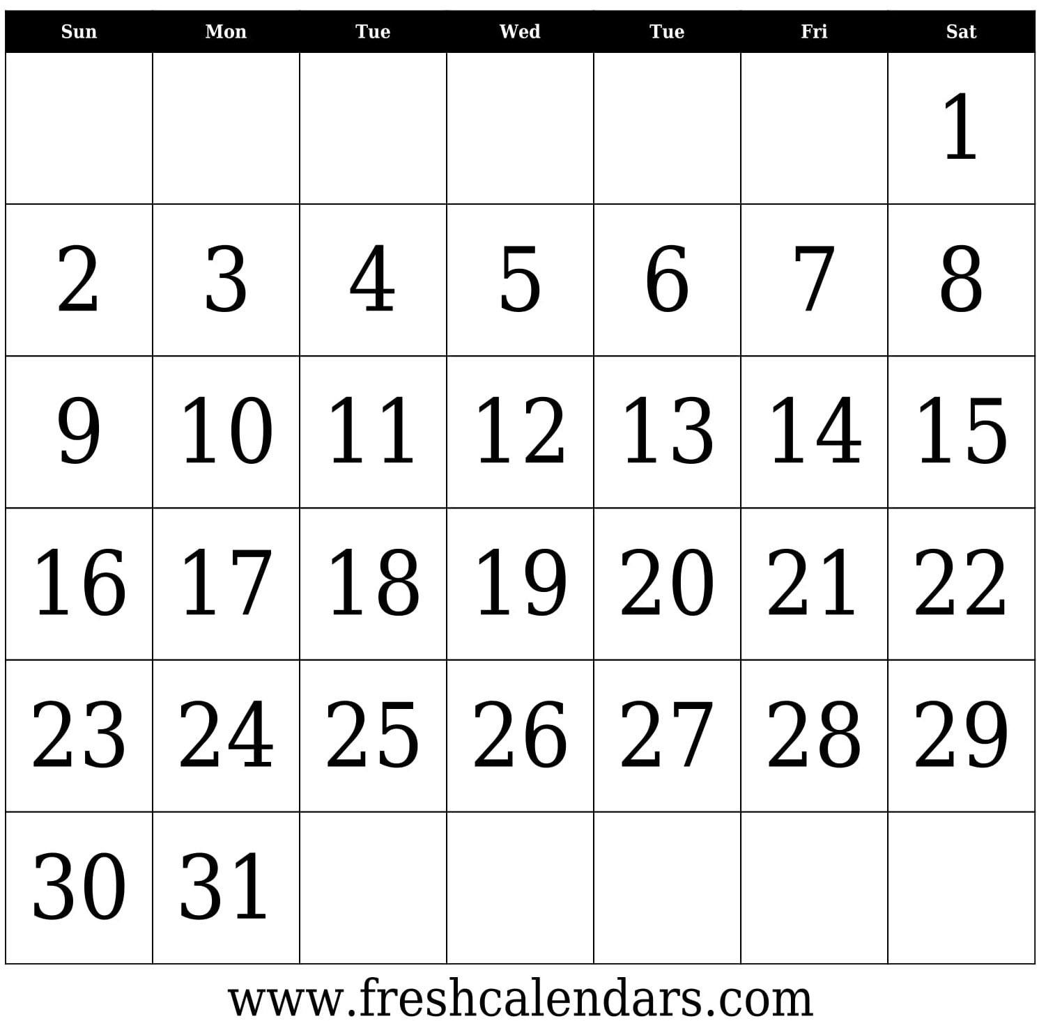 Blank Calendar: Wonderfully Printable 2019 Templates-A Blank Page Of 31 Days Of A Calendar