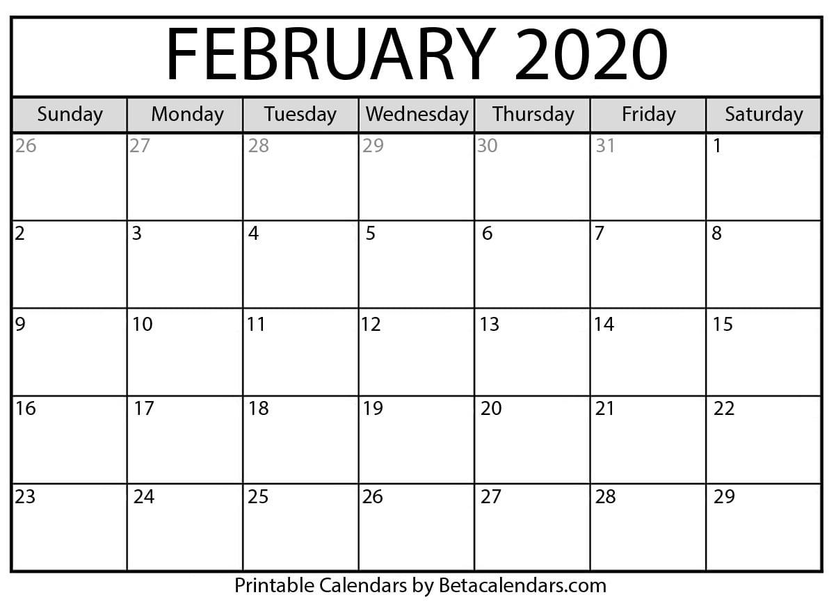 Blank February 2020 Calendar Printable - Beta Calendars-2020 Calendar January And February