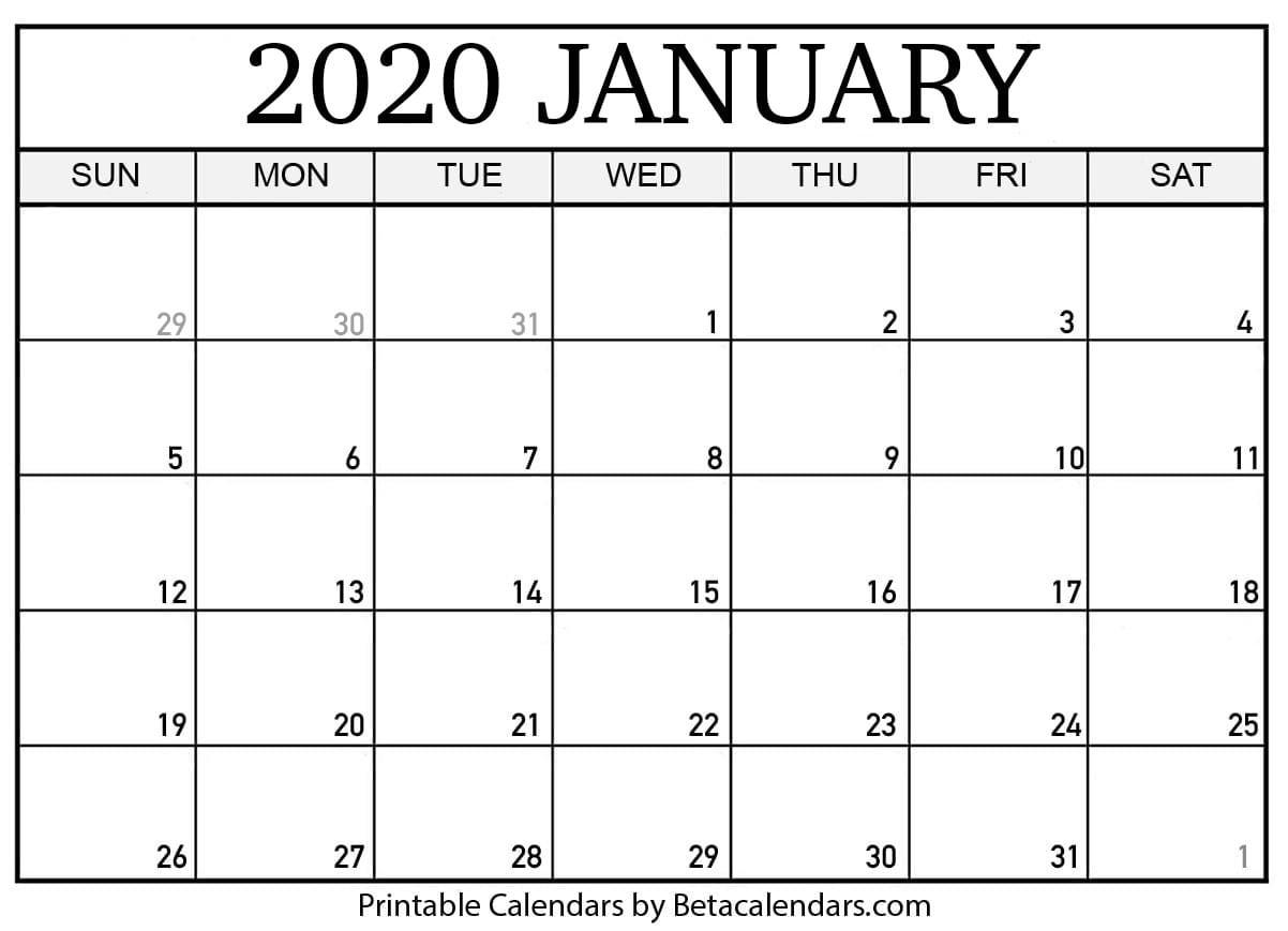 Blank January 2020 Calendar Printable - Beta Calendars-Bill Calendar 2020 Templates