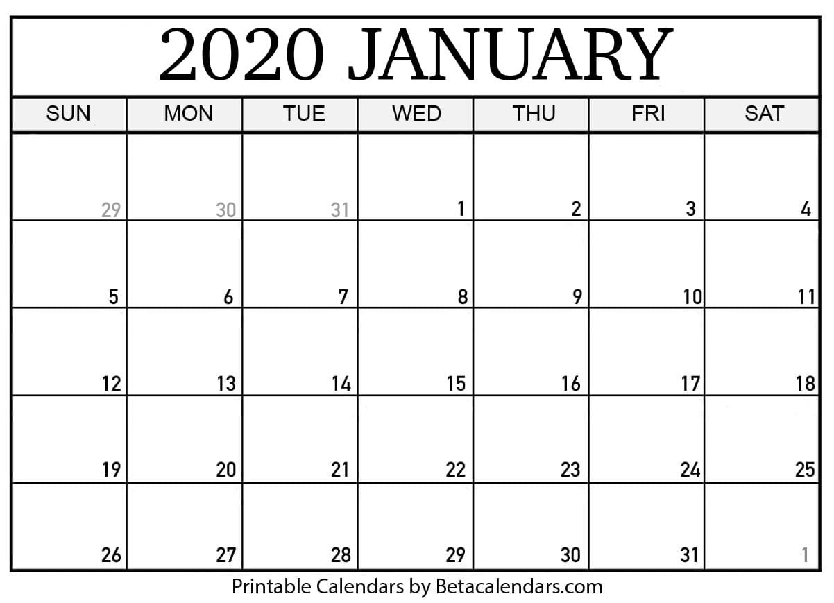 Blank January 2020 Calendar Printable - Beta Calendars-January 2020 Calendar Dates
