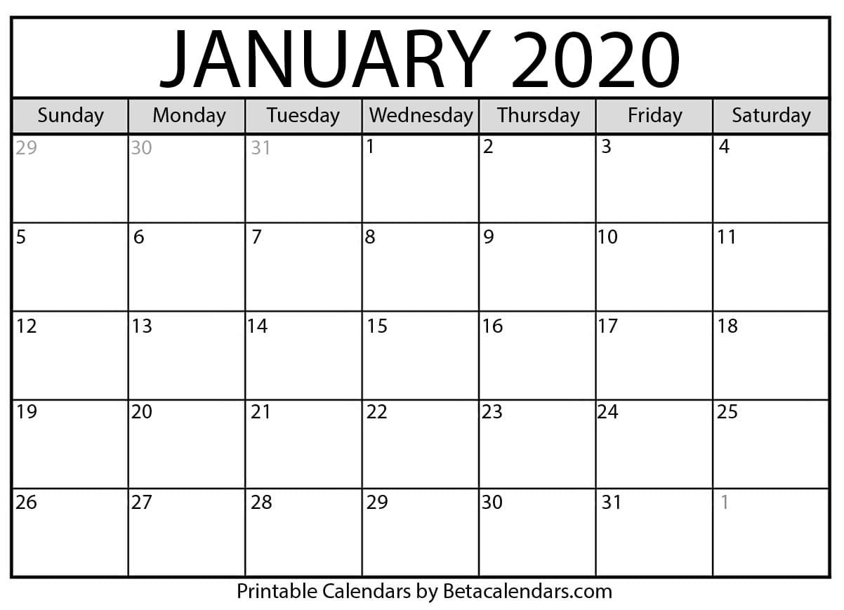 Blank January 2020 Calendar Printable - Beta Calendars-January 2020 Calendar Dates