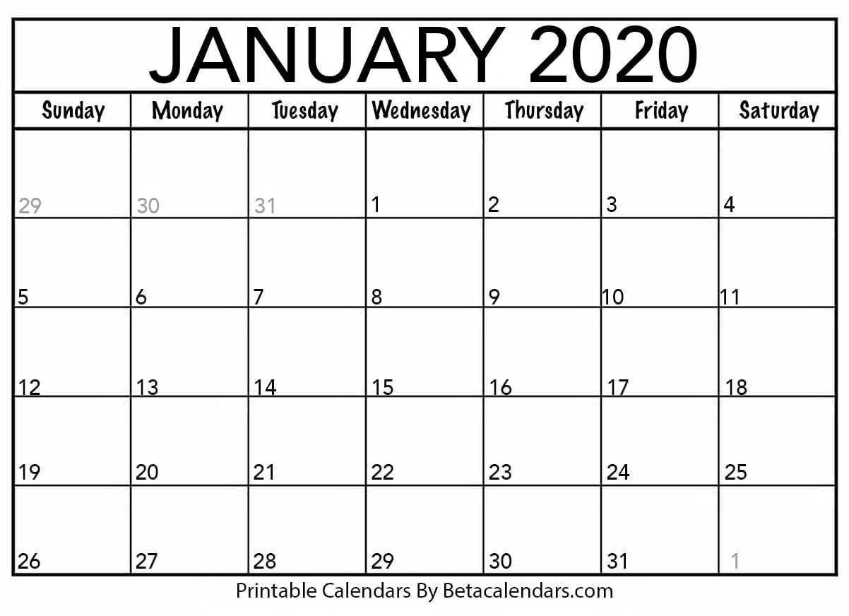 Blank January 2020 Calendar Printable - Beta Calendars-January 2020 Day Calendar