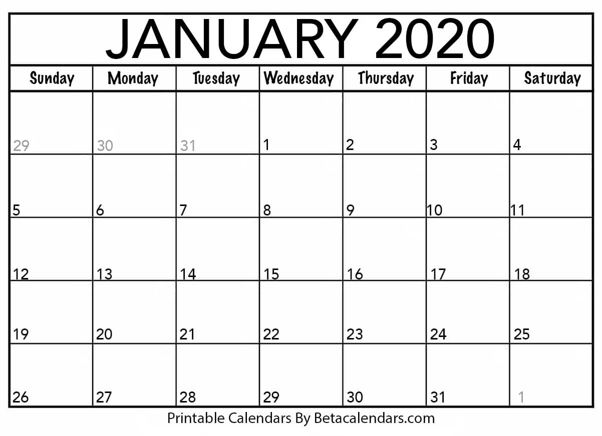 Blank January 2020 Calendar Printable - Beta Calendars-National Day Calendar January 2020