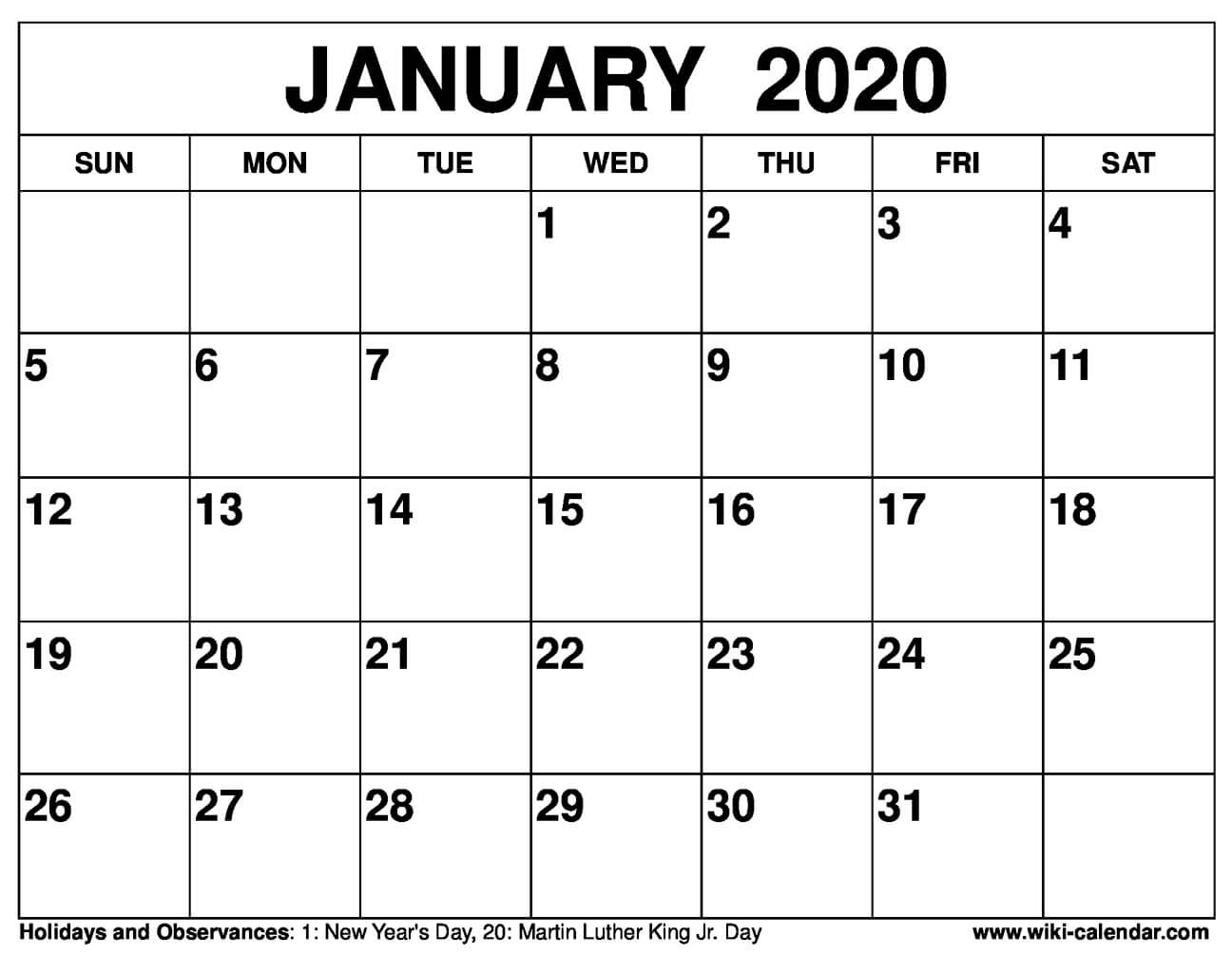 Blank January 2020 Calendar Printable Templates-January 2020 Calendar Wiki