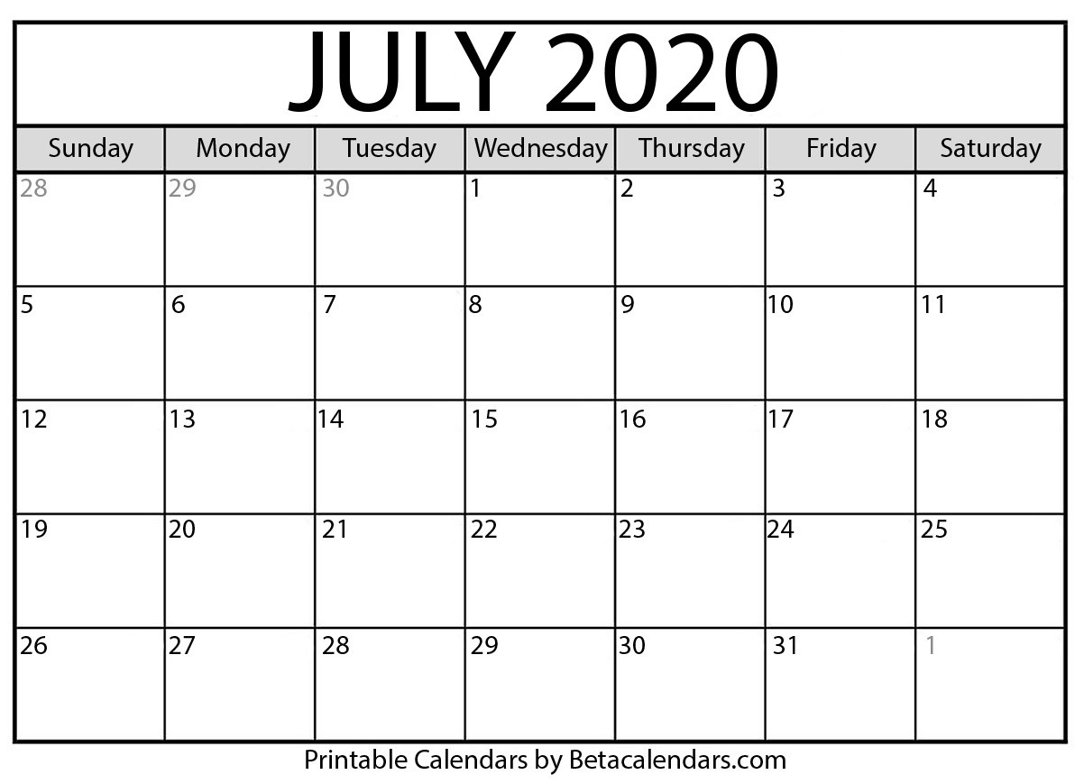 Blank July 2020 Calendar Printable - Beta Calendars-Monthly Bill Calendar 2020