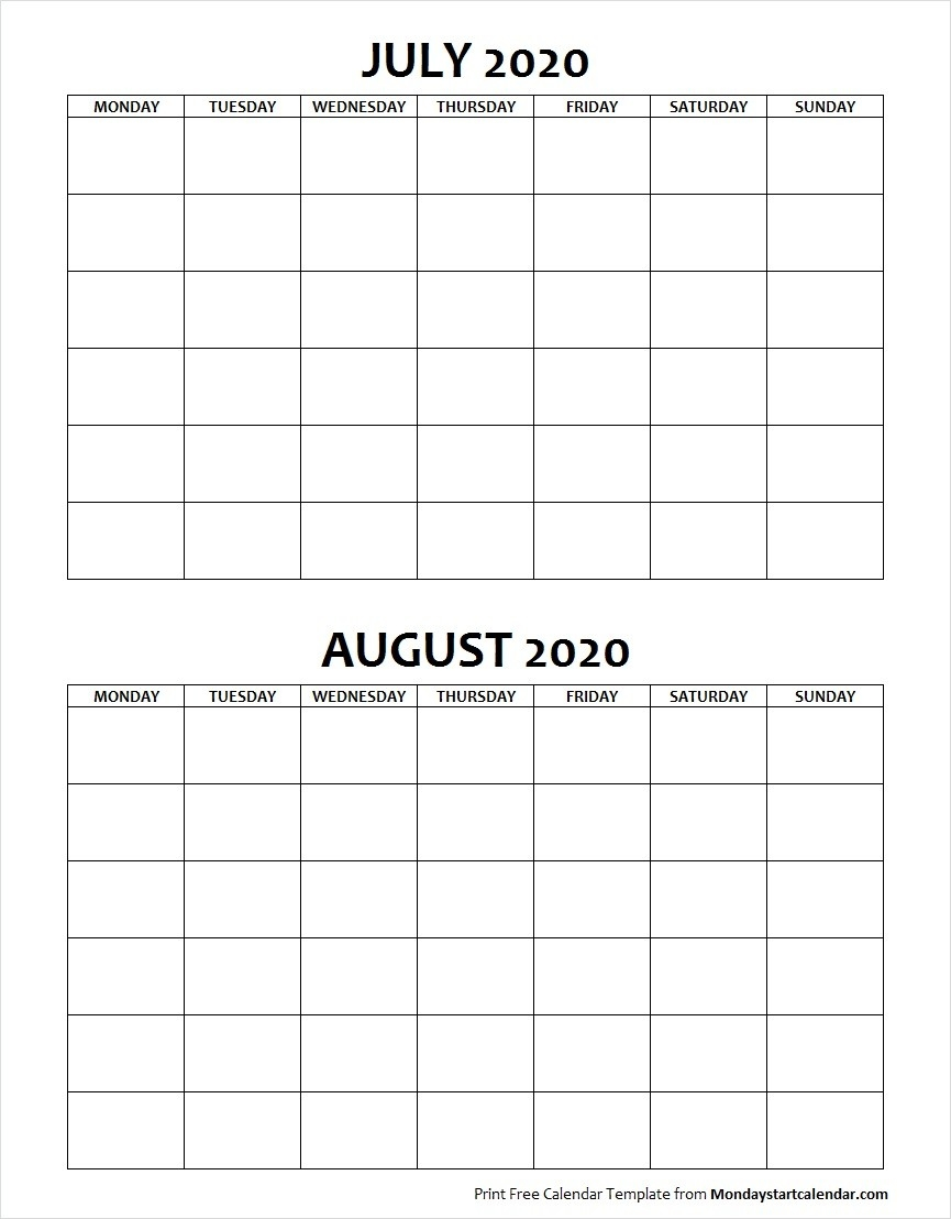 Blank July August 2020 Calendar Monday Start | Two Months-Blank Printable Calendar July And August 2020