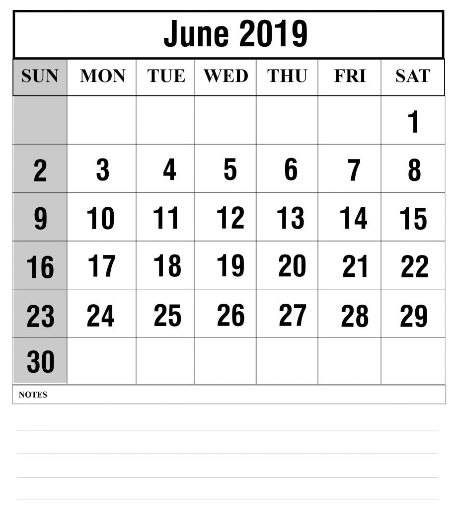 Blank June 2019 Calendar Printable In Pdf, Word, Excel-Blank Customizable June Calendar Template 2020