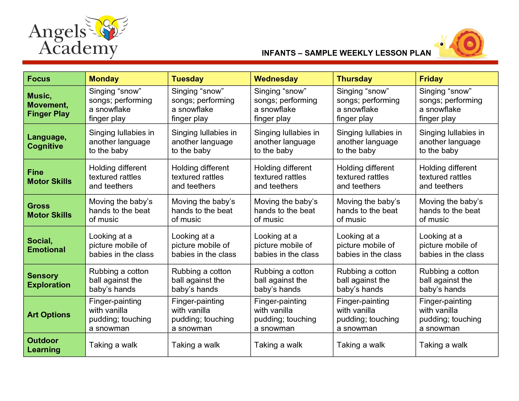 Blank Lesson Plan Template   Infants - Sample Weekly Lesson-Daycare Weekly Lesson Plan Template