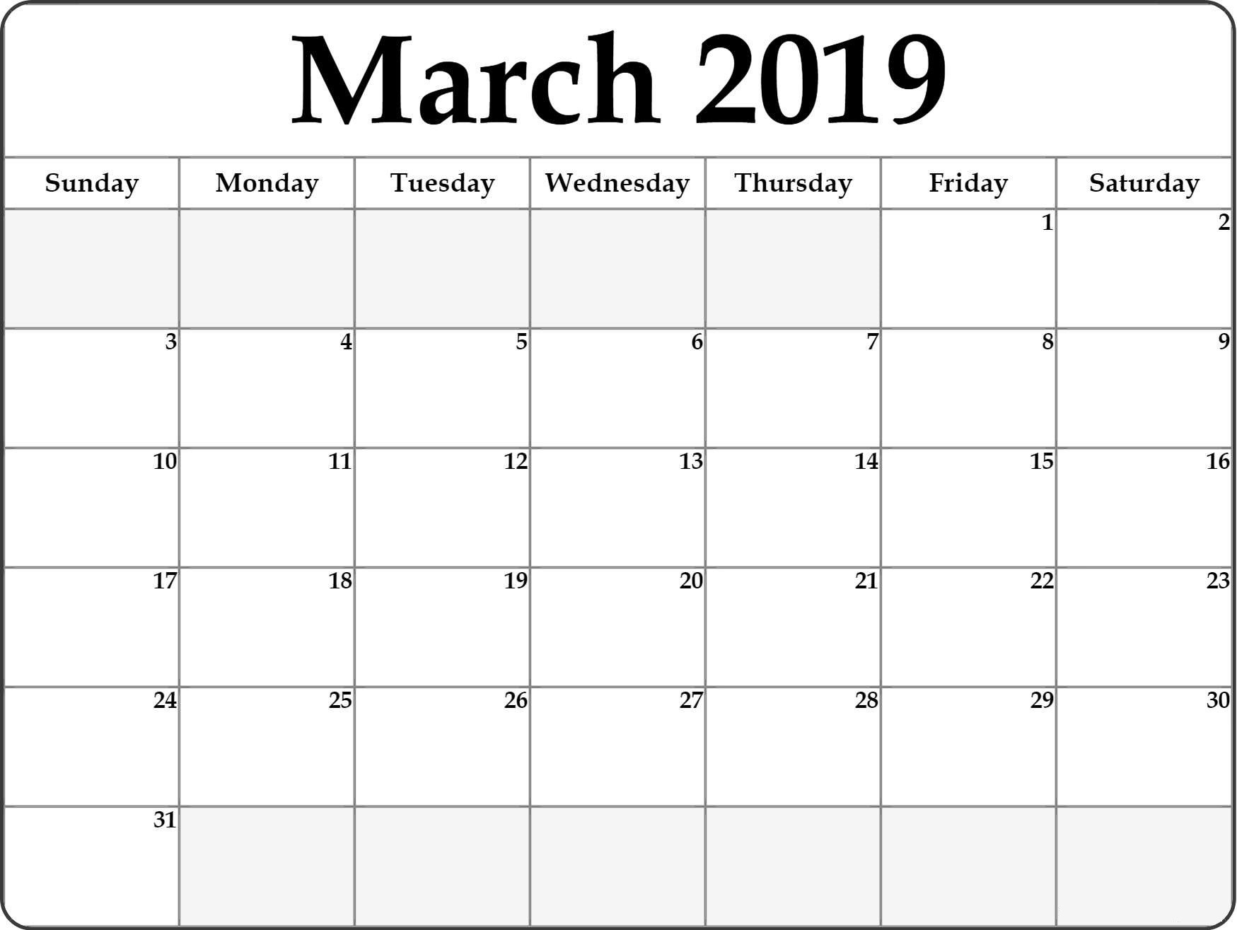 Blank March 2019 Calendar Printable - Free Printable-A Blank Page Of 31 Days Of A Calendar