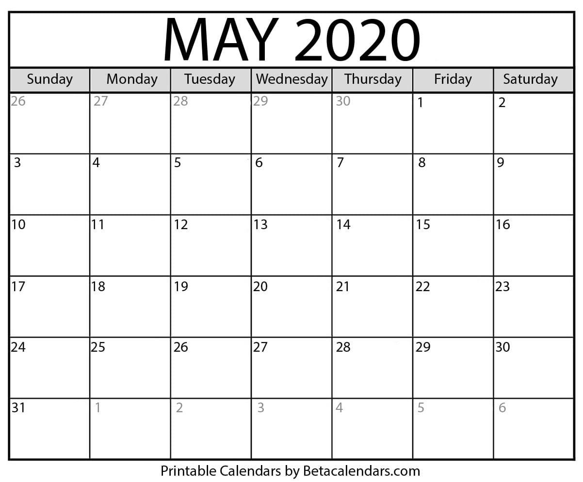 Blank May 2020 Calendar Printable - Beta Calendars-Printable Monthly Bill Pay Calendar 2020