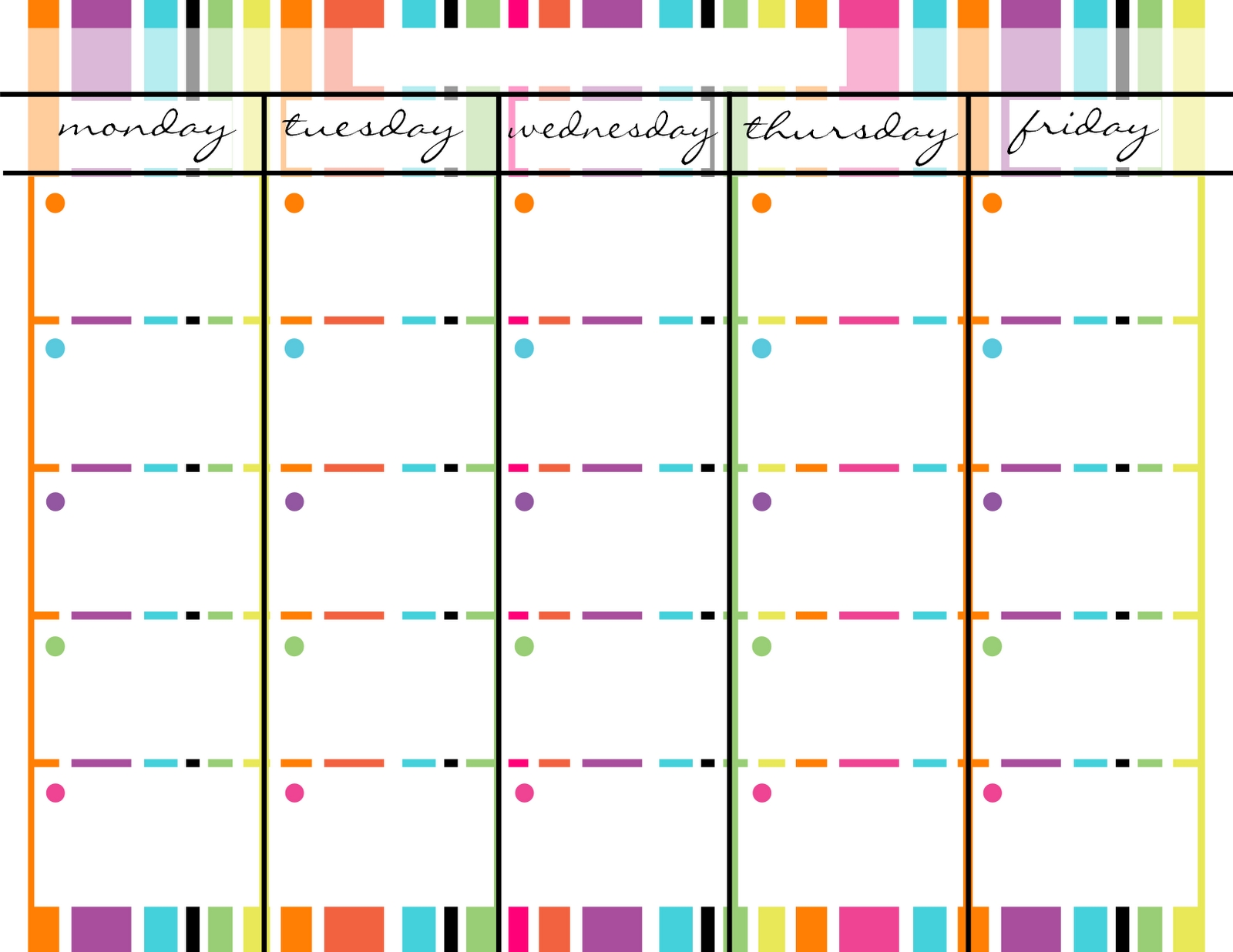 Blank Monday Through Friday Printable Calendar | School-Weekly Calendar Templates Free Printable Monday-Friday