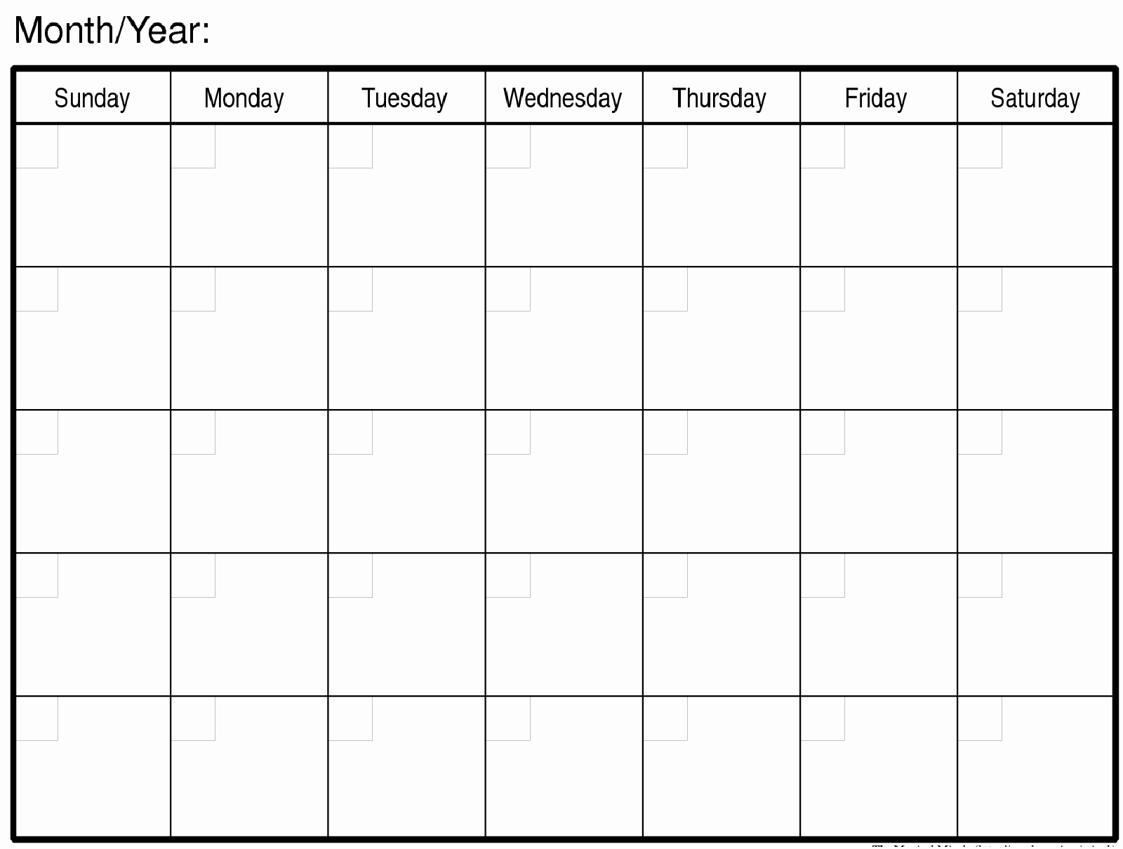 Blank Monthly Calendars To Print Free Calendar 2018-Printable Blank Monthly Calendar Template