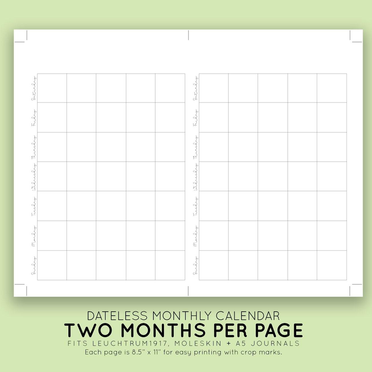 Blank Monthly Printable Calendar | Laura Kinker Designs-Monthly Calendar Printable No Dates