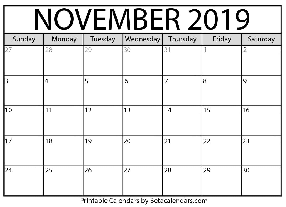 Blank November 2019 Calendar Printable - Beta Calendars-A Blank Page Of 31 Days Of A Calendar