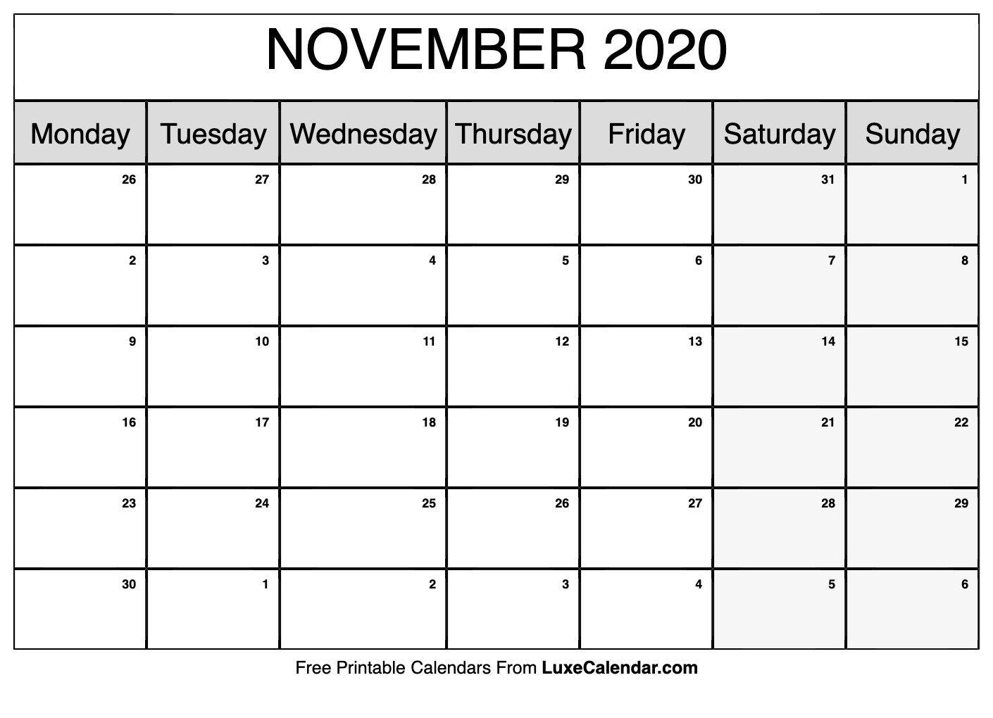 Blank November 2020 Calendar Printable - Luxe Calendar-Printable 2020 Monthly Calendar Monday Start