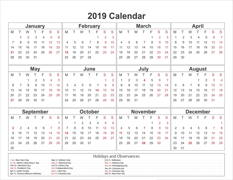 Blank Printable Calendar 2019 With Holidays-Blank Month Caledar Uk
