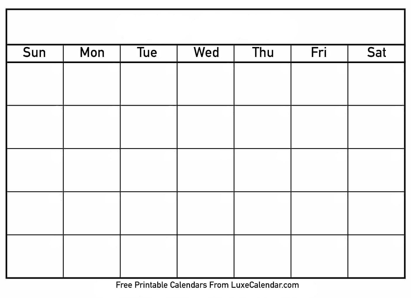 Blank Printable Calendar - Luxe Calendar-Free Calendar Template Printable 201