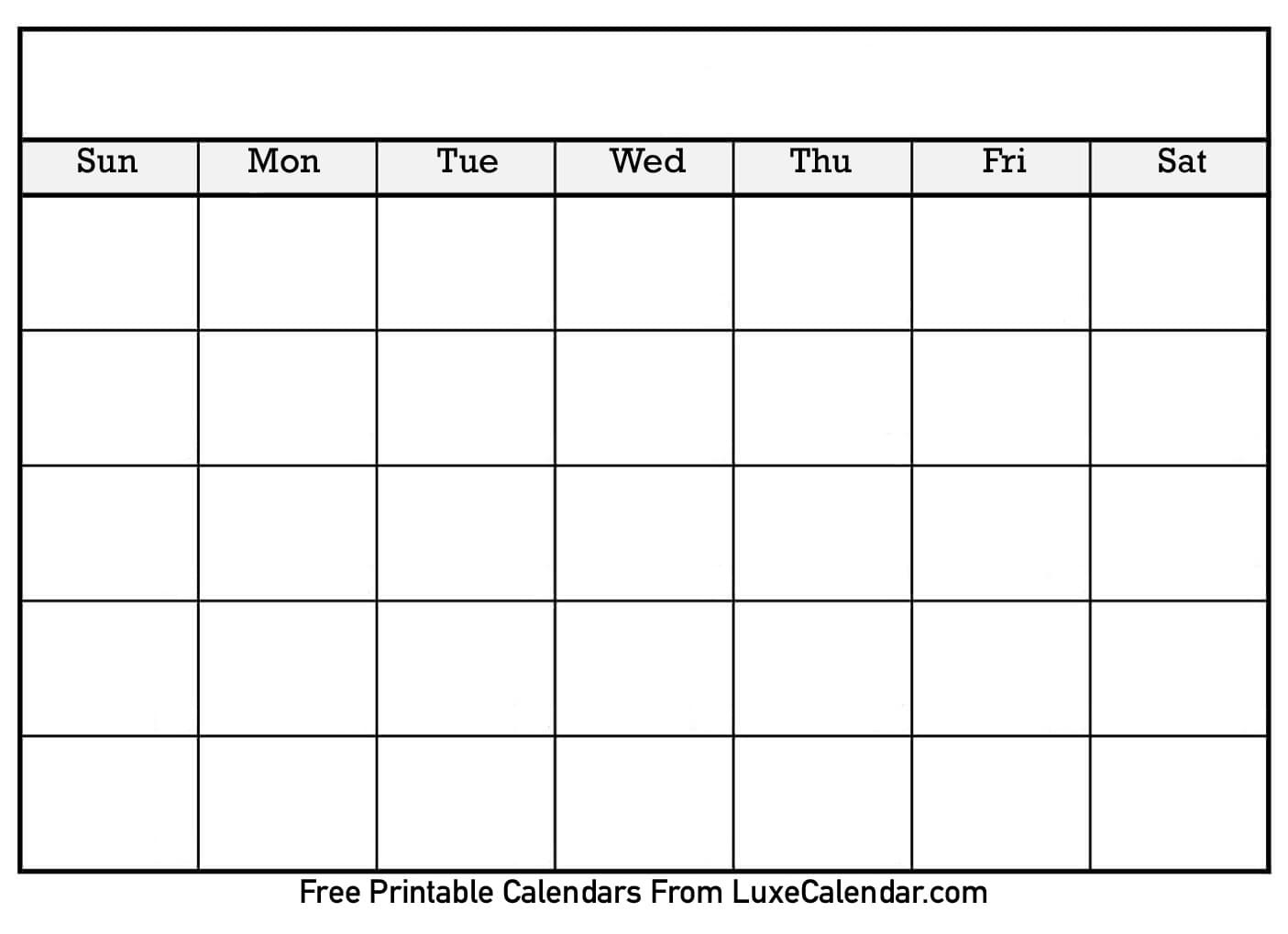 Blank Printable Calendar - Luxe Calendar-Printable Blank Monthly Calendar Template