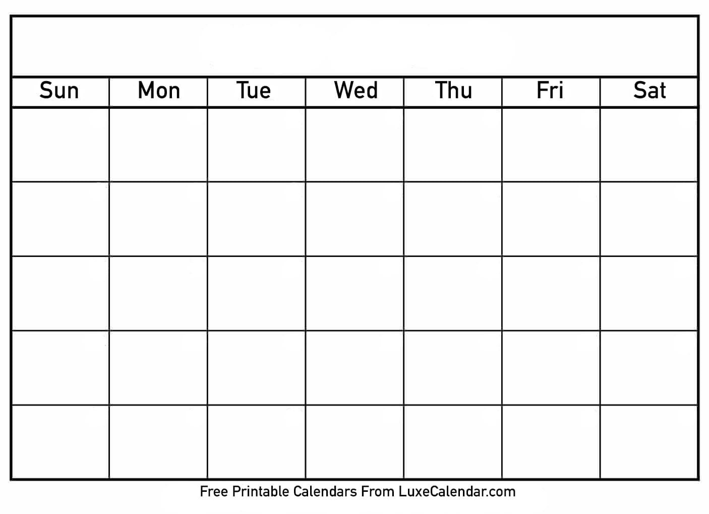 Blank Printable Calendar - Luxe Calendar-Printable Calendar Template With Notes