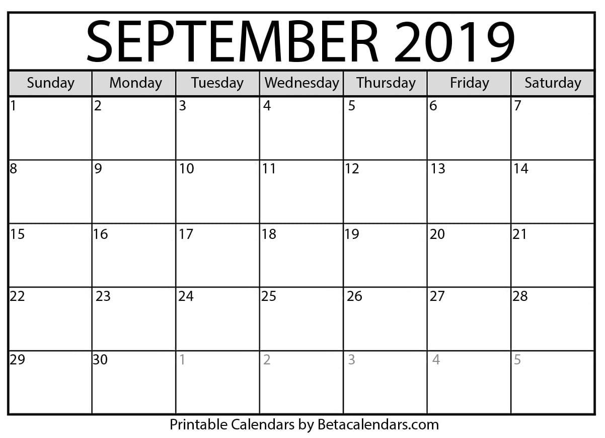 Blank September 2019 Calendar Printable - Beta Calendars-Blank September Calendar Monday Start