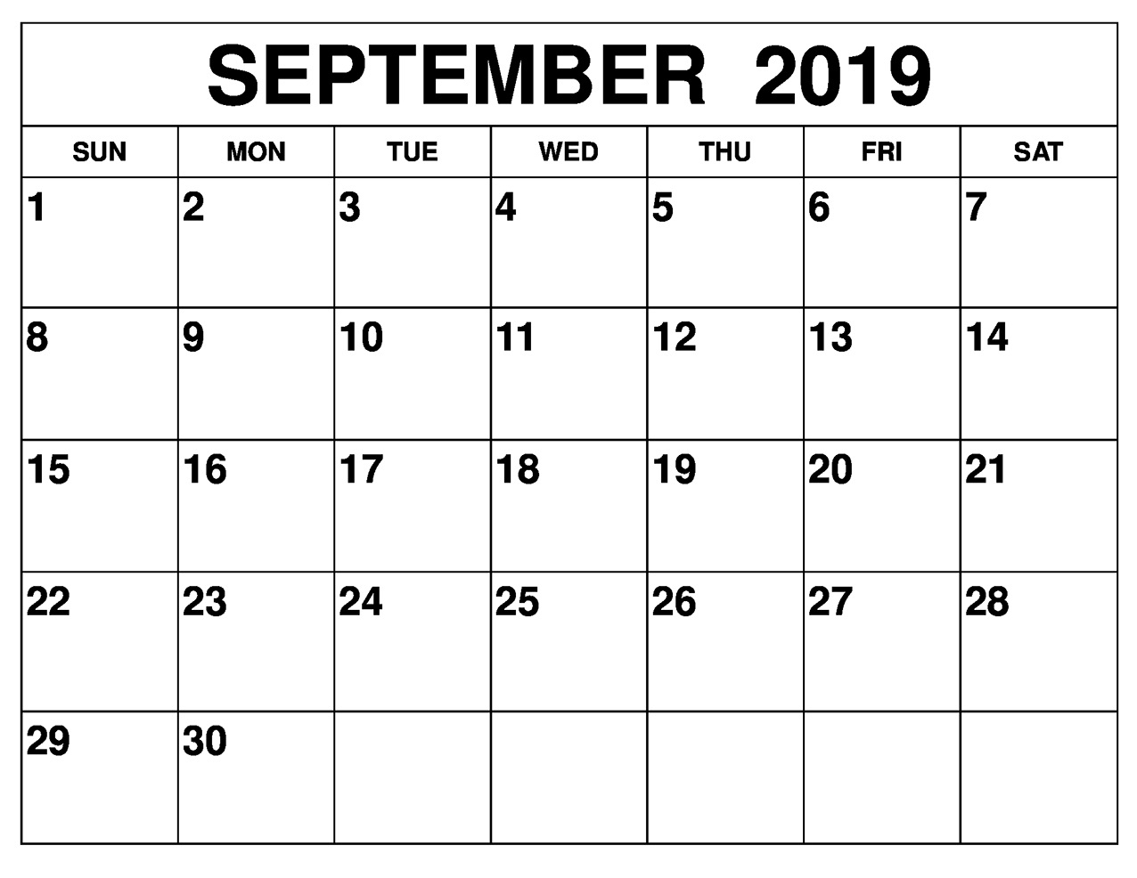 Blank September 2019 Calendar Printable Free Download-A Blank Page Of 31 Days Of A Calendar
