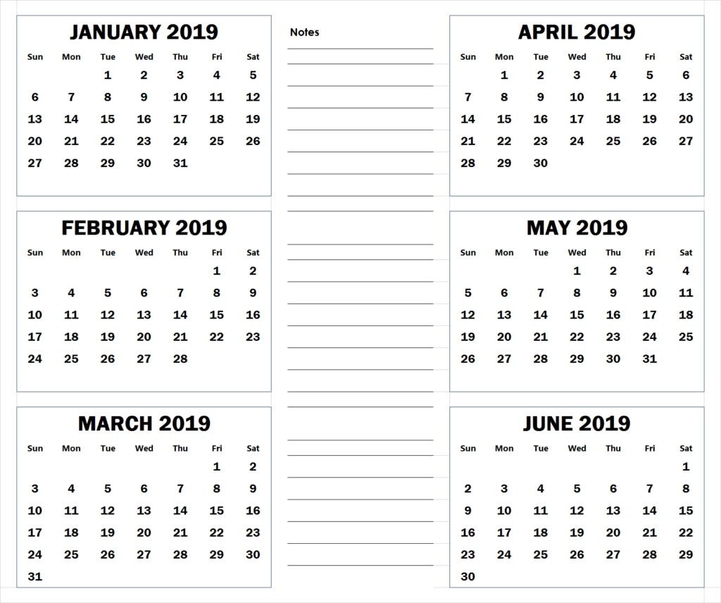Blank Six Month 2019 Printable Calendar | 2019 Calendars-Calendar Blanks 6 Months