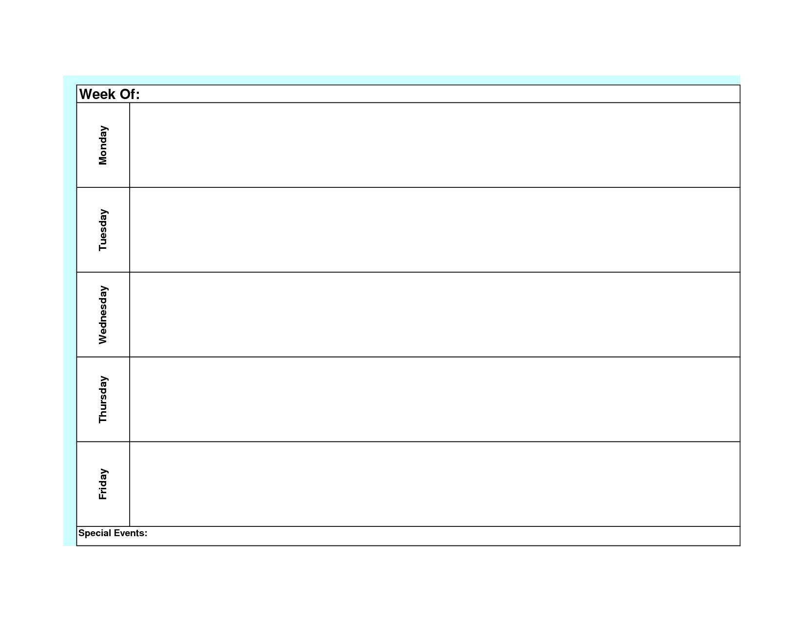 Blank Weekly Calendar Template Monday Friday | Planner-Monday Friday Calendar Template Printable
