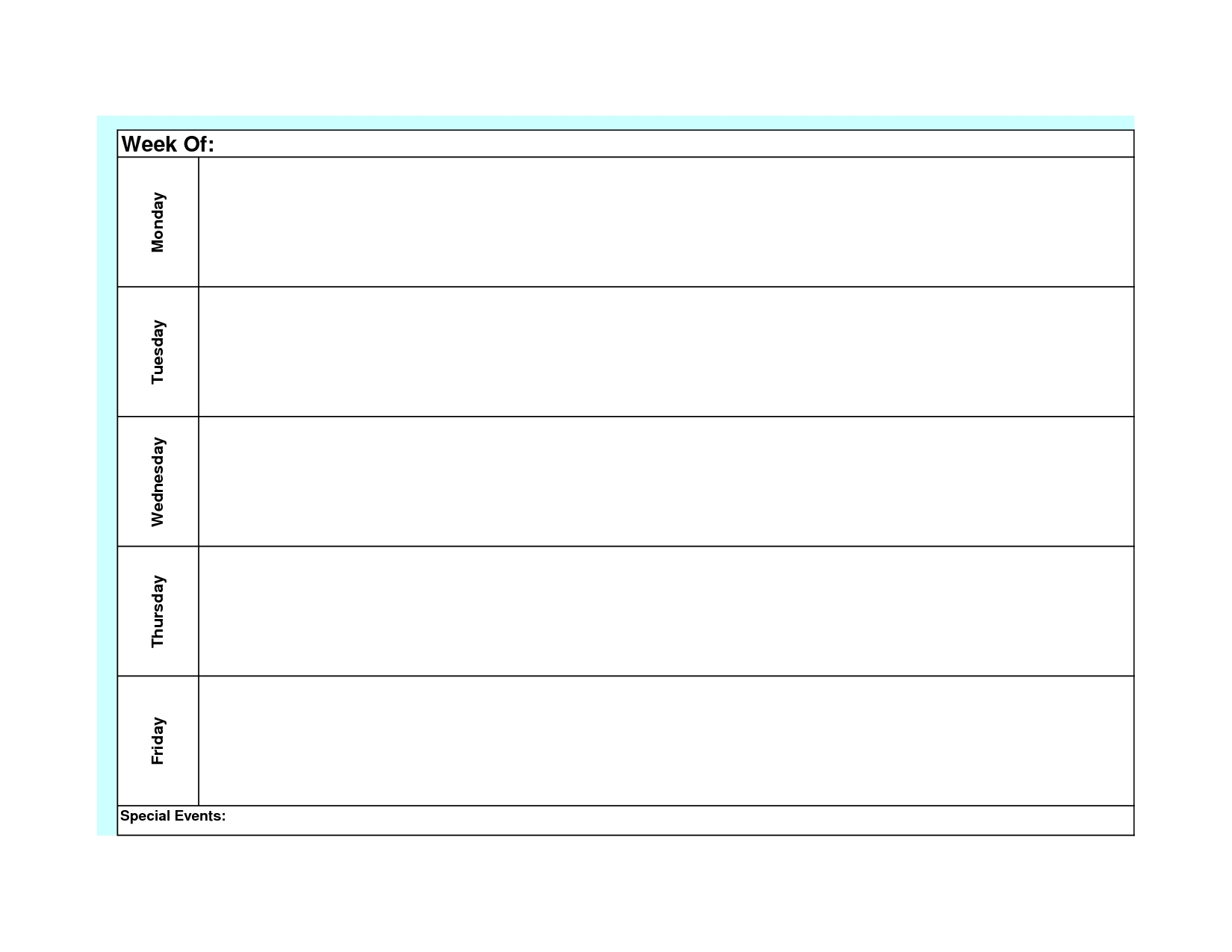 Blank Weekly Calendar Template Monday Friday | Planner-Monday Through Friday Template