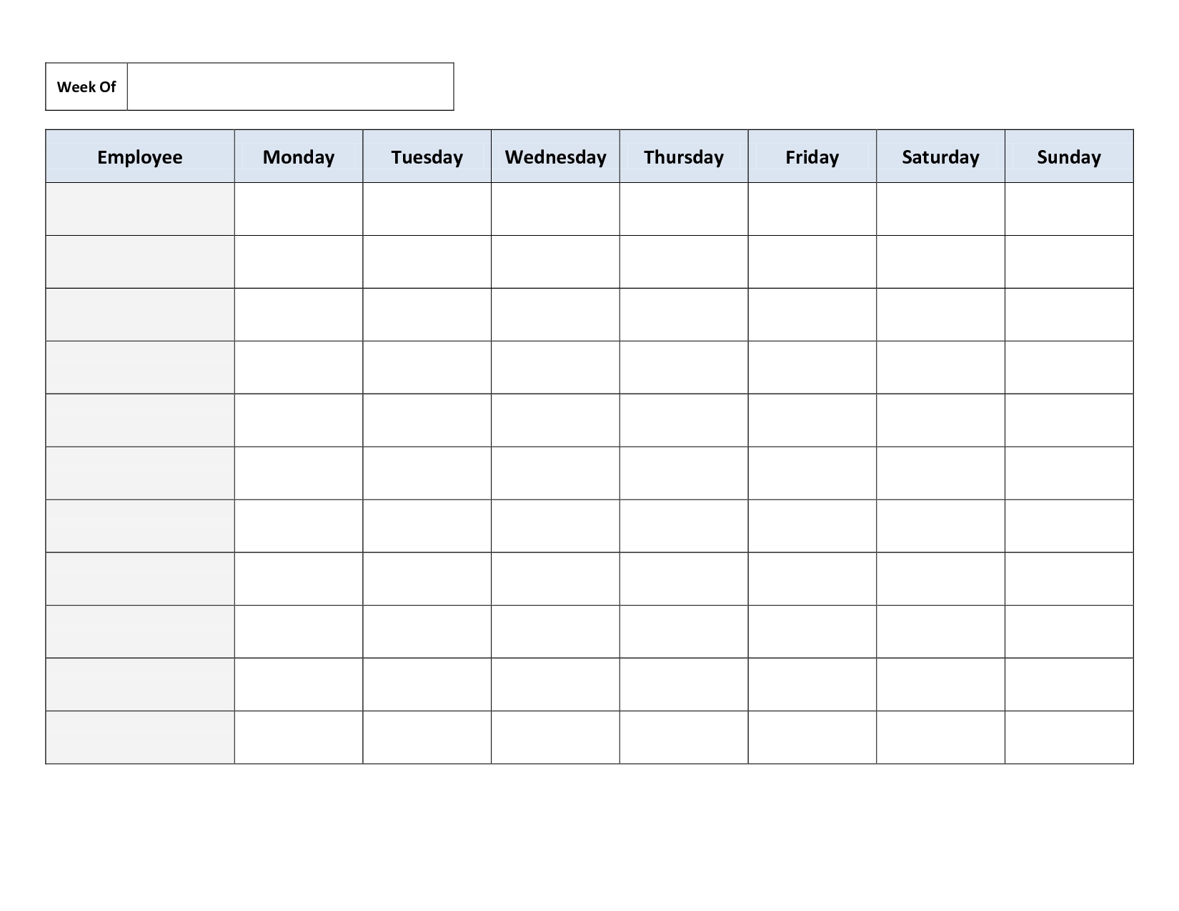 Blank Weekly Work Schedule Template | Schedule | Cleaning-Blank Monday Through Friday Template