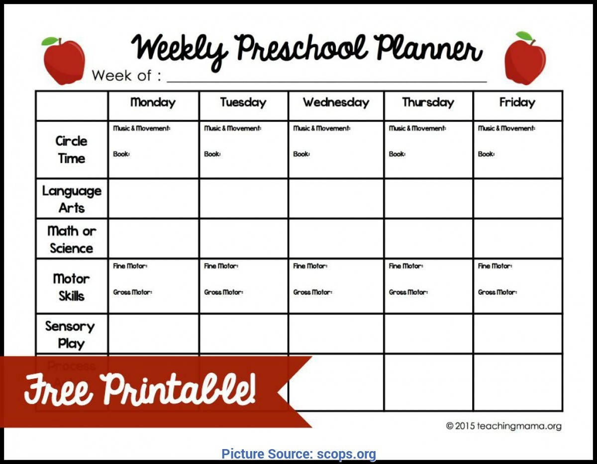 Briliant Lesson Plan Template Daycare Weekly Preschool-Daycare Weekly Lesson Plan Template