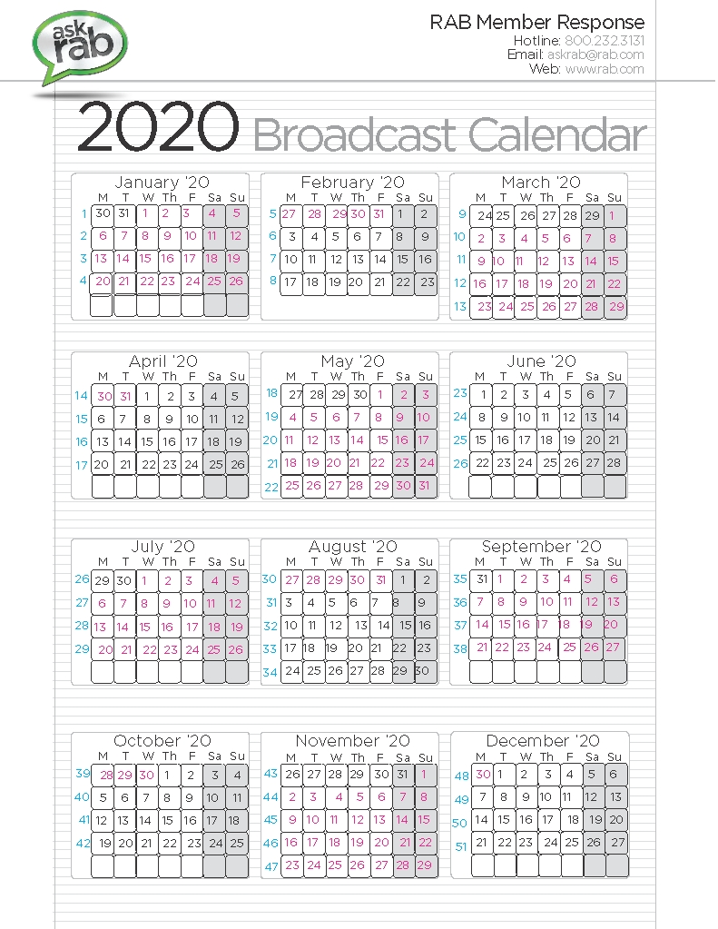Broadcast Calendars | Rab-January 2020 Style 3 Calendar