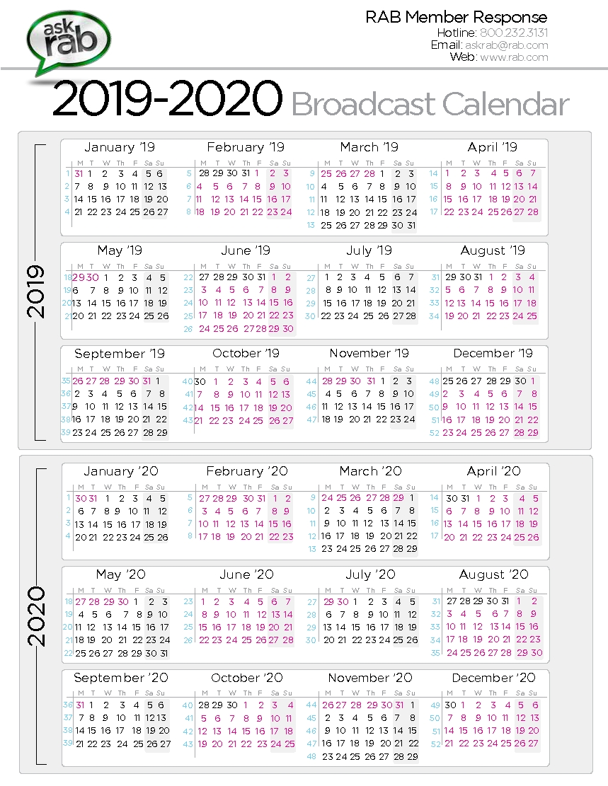 Broadcast Calendars | Rab-Key West Calendar January 2020