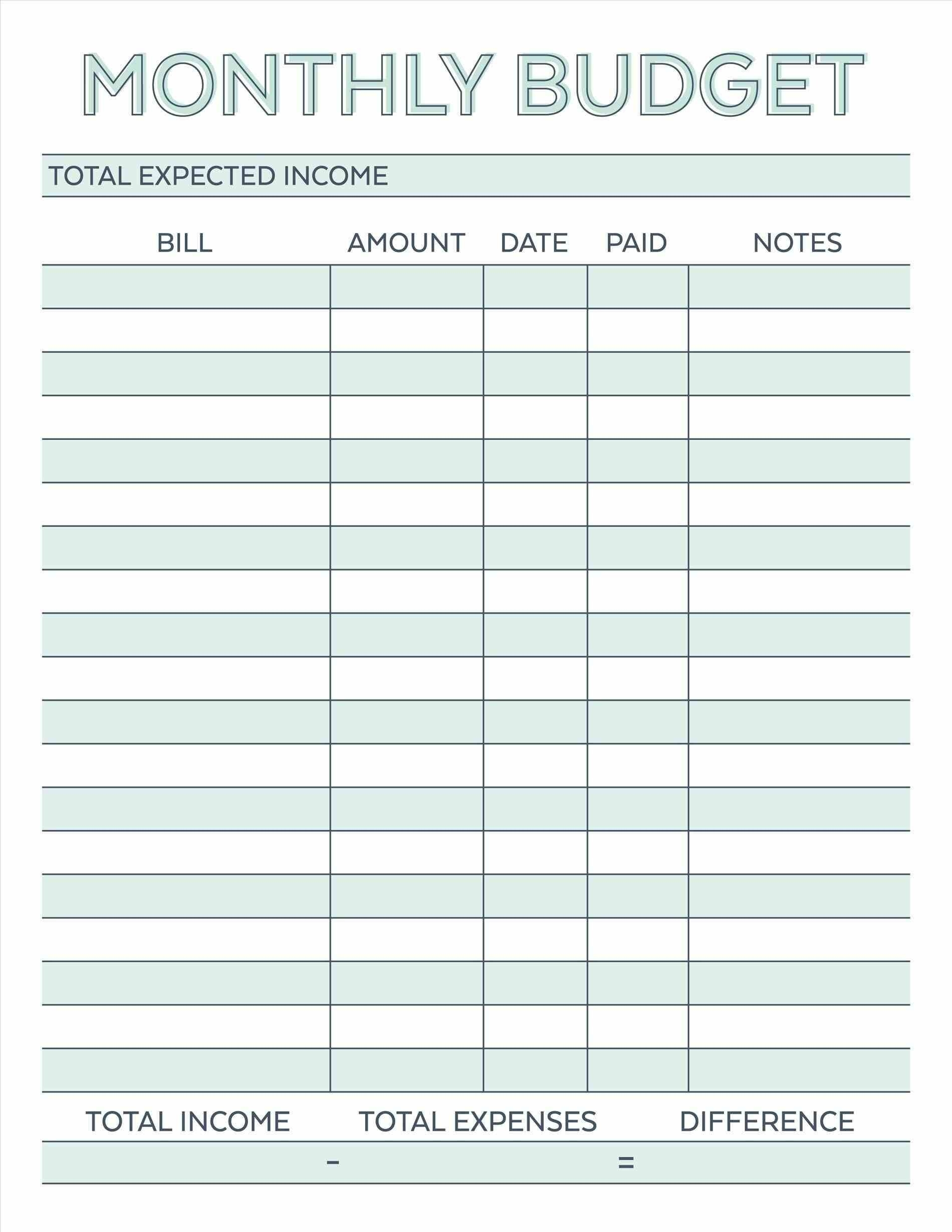 Budget Planner Planner Worksheet Monthly Bills Template Free-Blank Chart For Monthly Bills