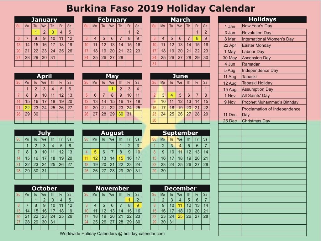Burkina Faso 2019 / 2020 Holiday Calendar-2020 Calendar Muslim Holidays