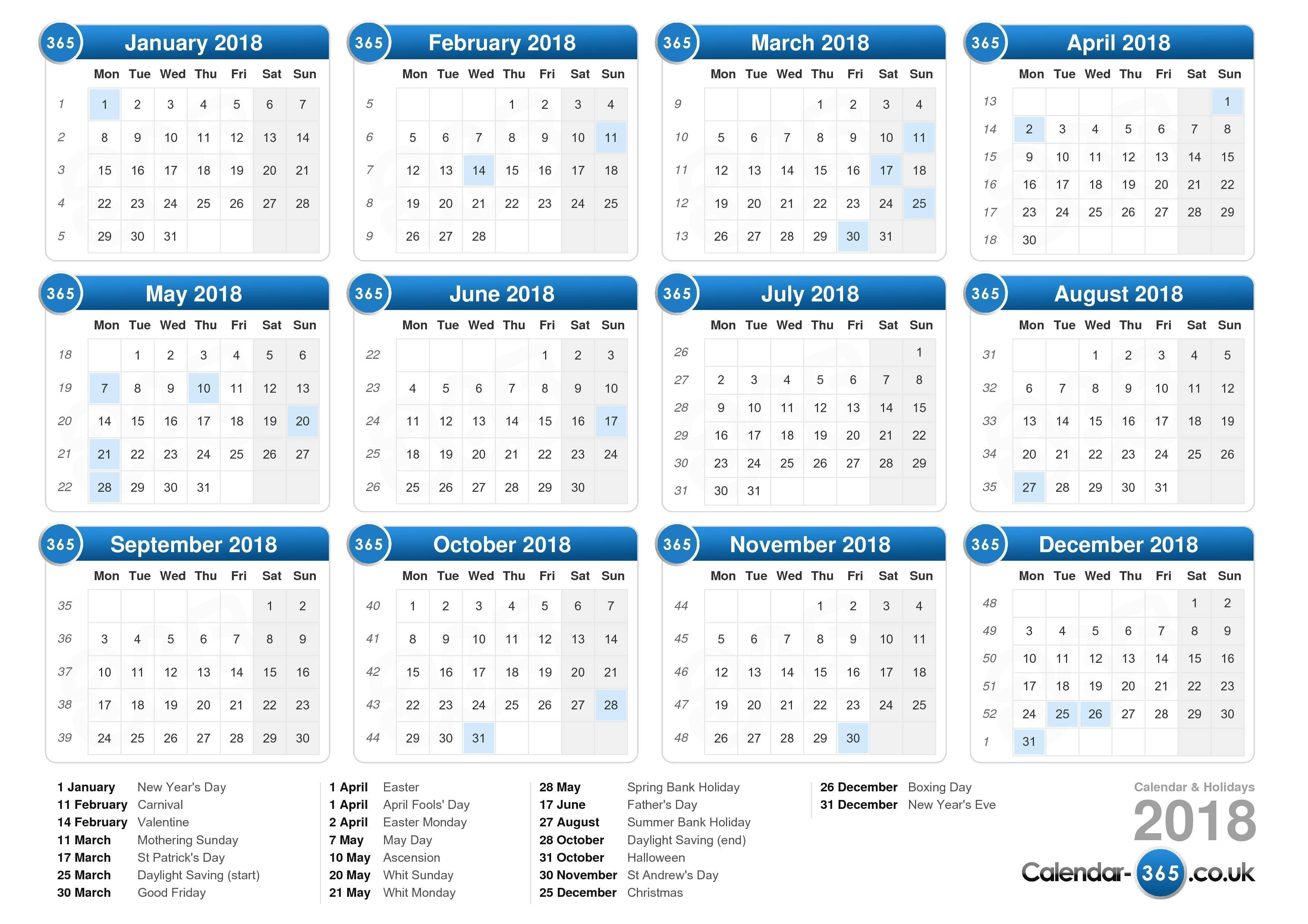 Calendar 2018-Calendar Indicating The Holidays