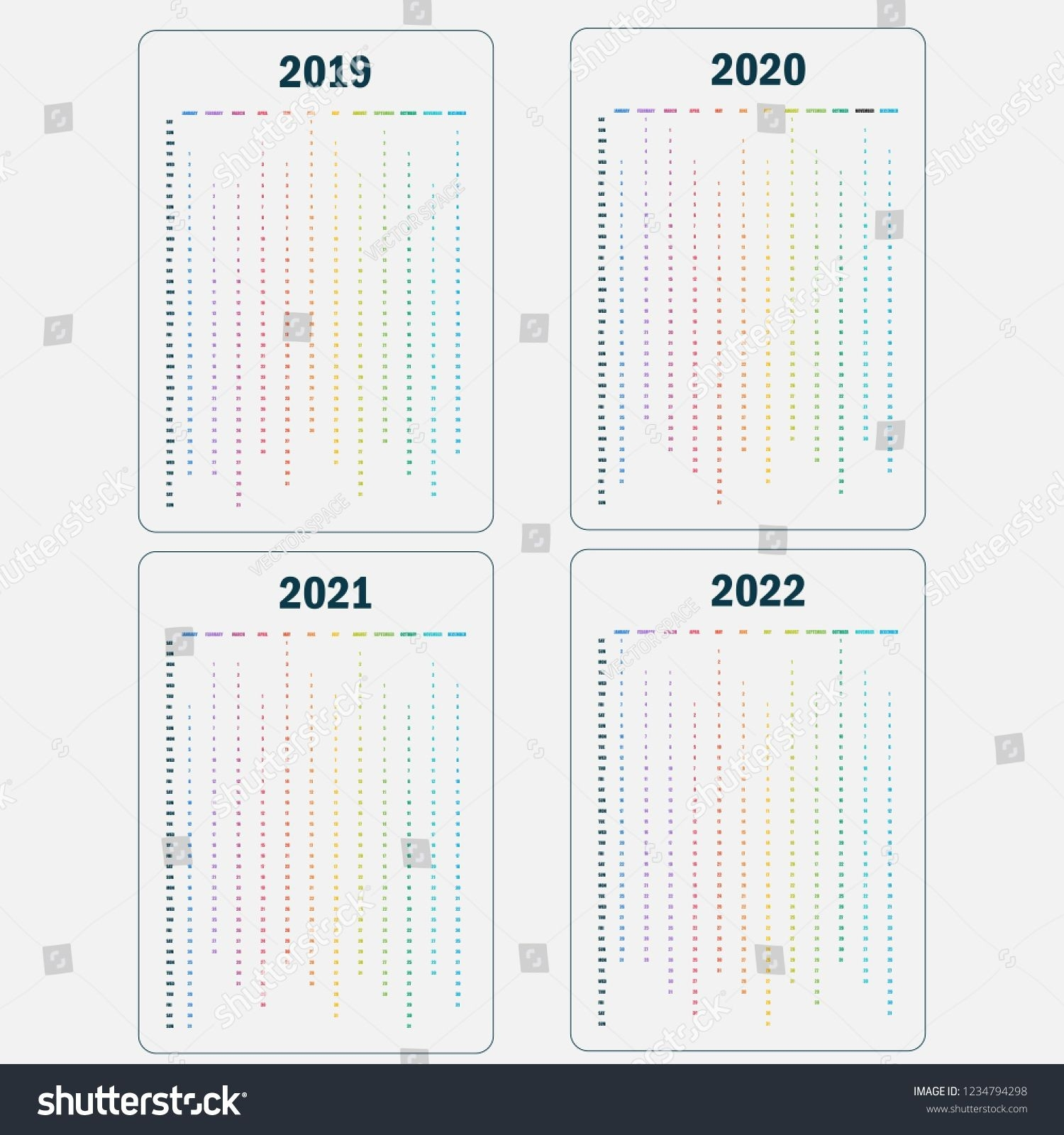 Calendar 2019, 2020, 2021 And 2022 Calendar Template-Adobe Indesign Calendar Template 2020