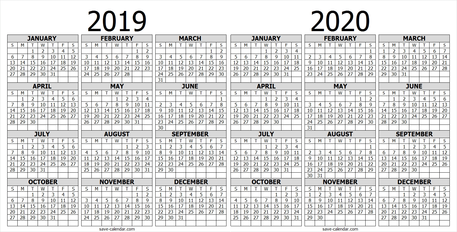 Calendar 2019 2020 One Page | 2019 Calendar | Free Calendar-2020 Calendar South Africa With Public Holidays