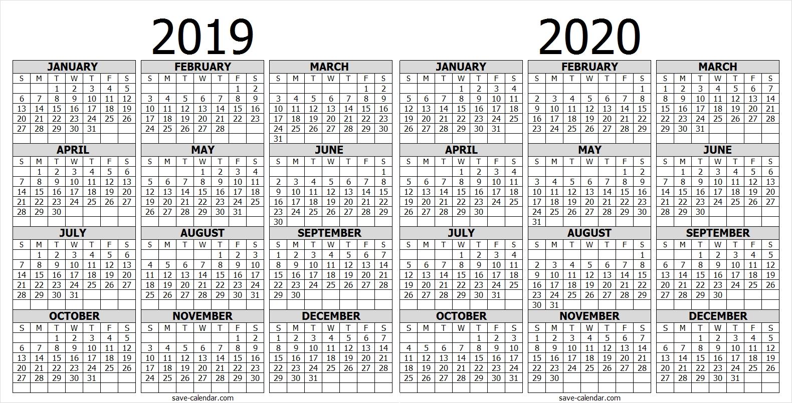 Calendar 2019 2020 One Page | 2019 Calendar | Free Calendar-Free Printable Attendance Calendars 2020 Templates