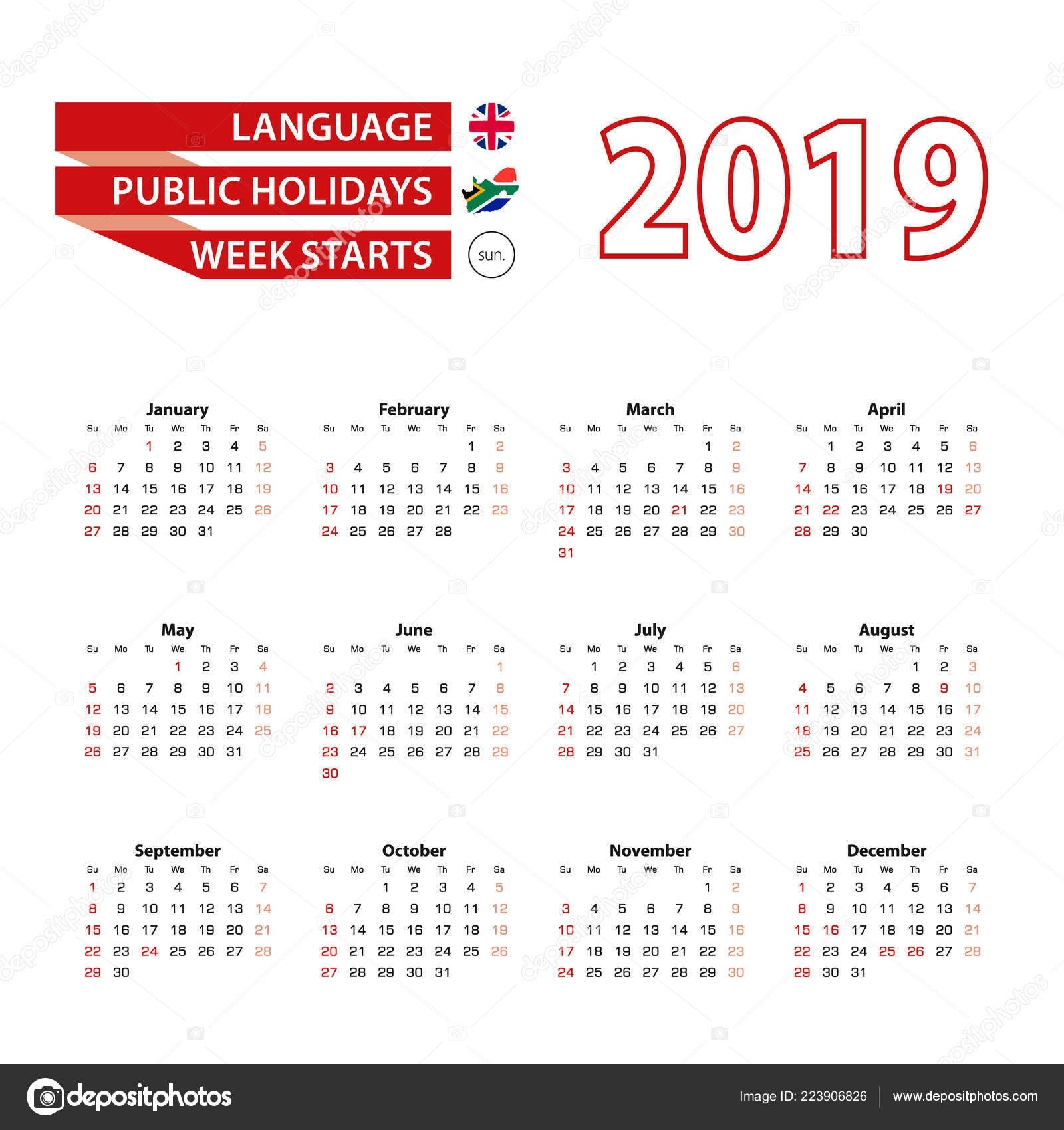 Calendar 2019 English Language Public Holidays Country South-Public Holidays South Africa