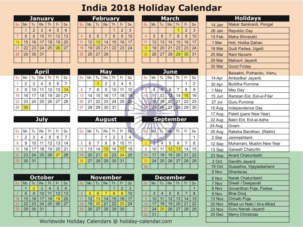 Calendar 2019 Holidays List India In Hindi • Printable Blank-Calendar 2020 Holidays Hindi