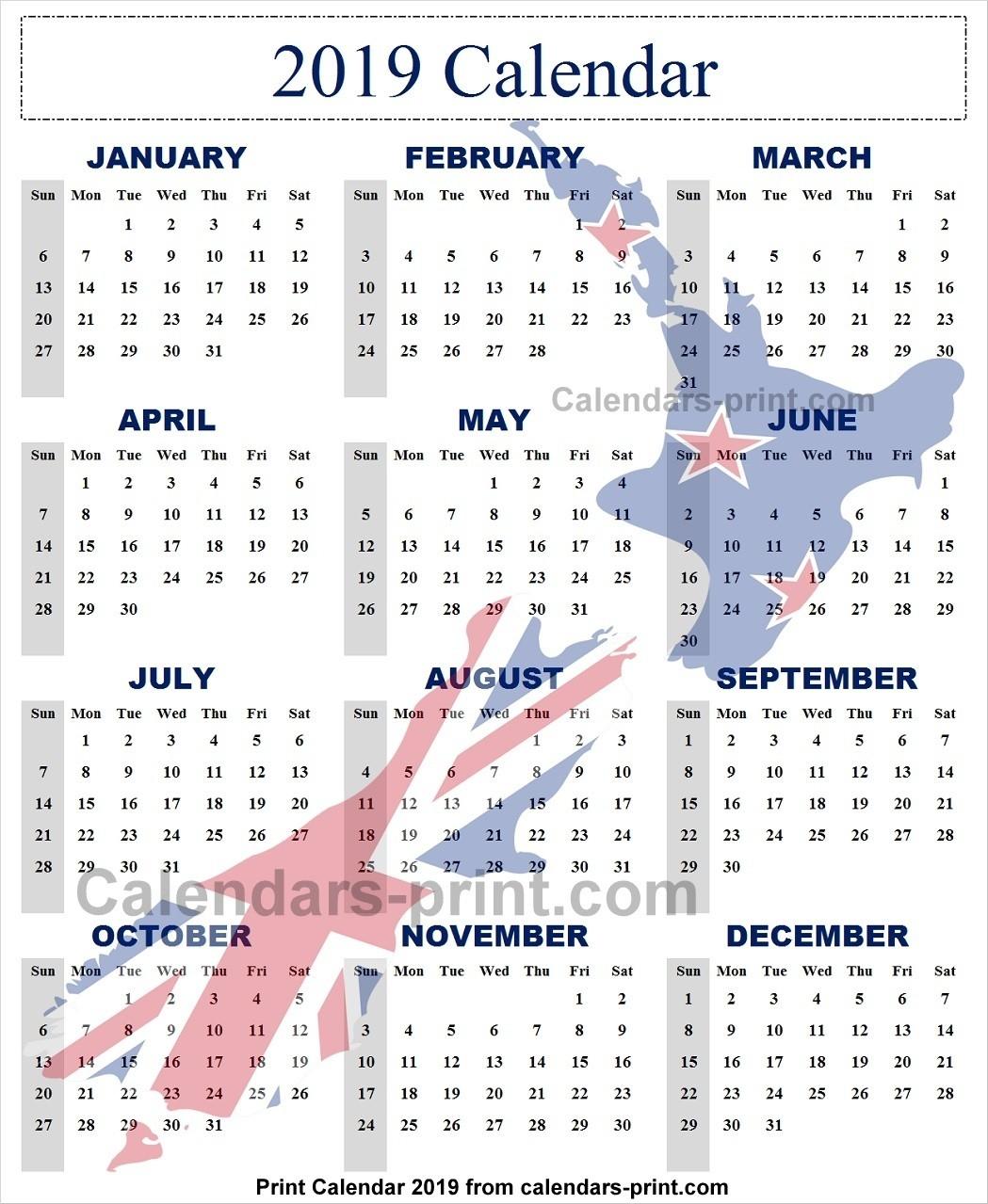 Calendar 2019 New Zealand Archives - Calendar To Print-Six Monthly New Zealand Calendars